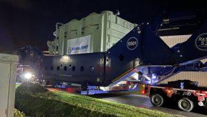 Transport van de transformator van 365 ton